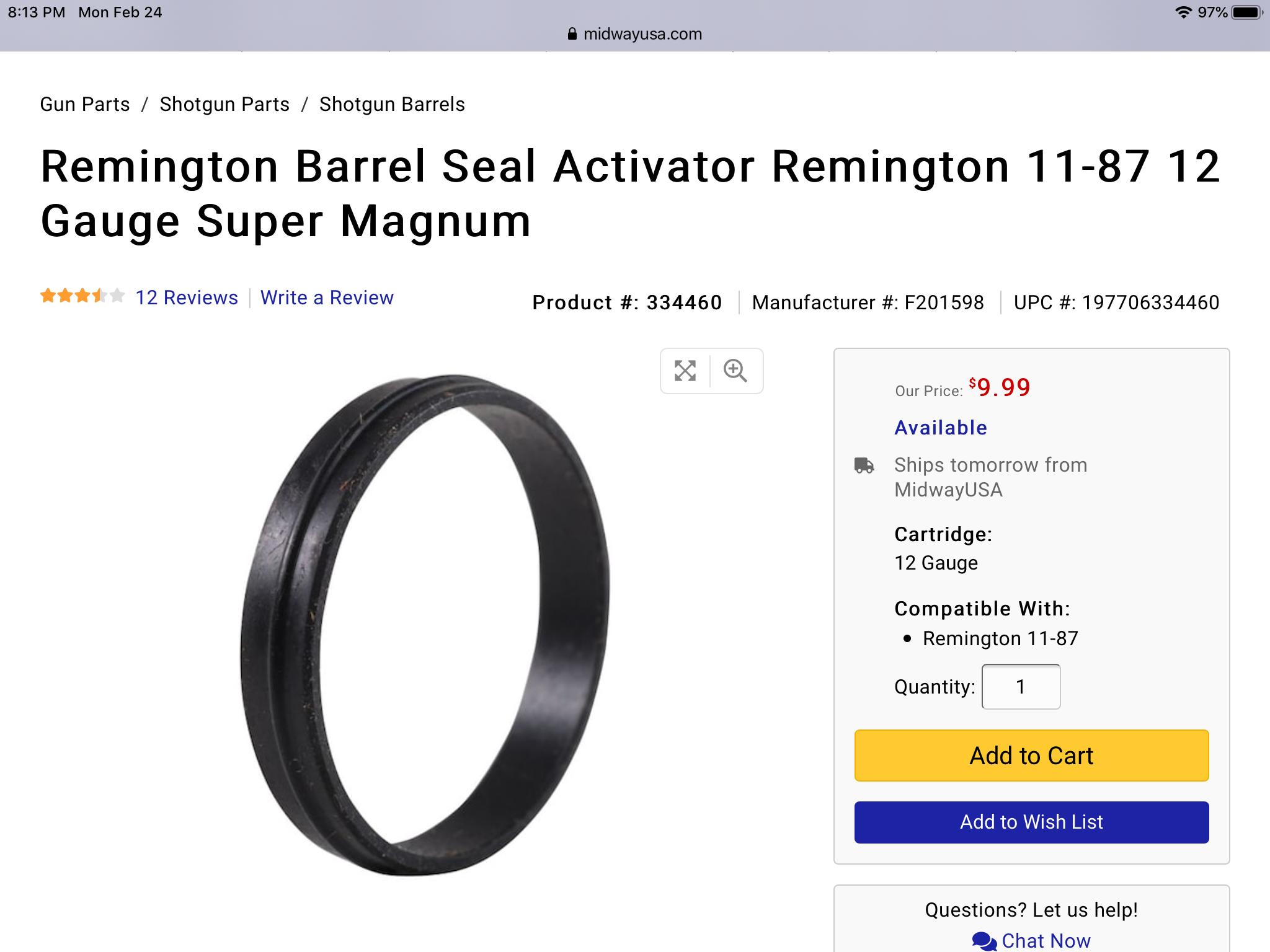11 87 super magnum barrel seal activator kit